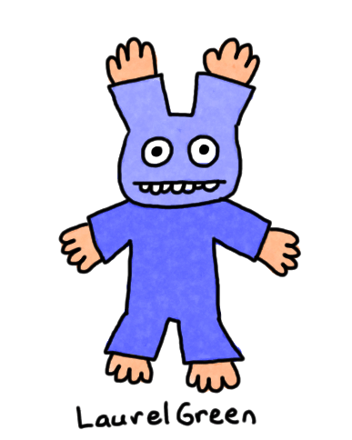 a drawing of a person with hands sticking out of weird places
