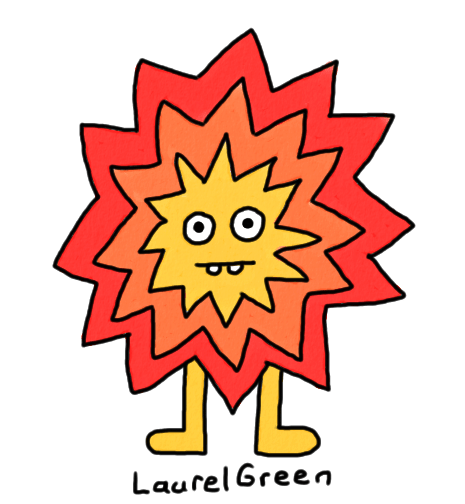 a drawing of an anthropomorphic explosion
