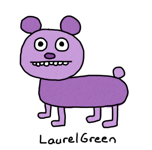 a drawing of a purple bear