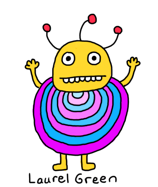 a drawing of round, striped thing