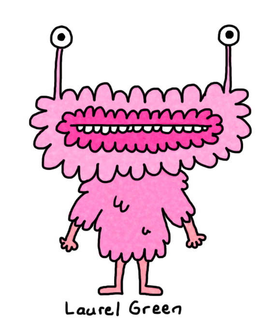 a drawing of a pink, fluffy creature