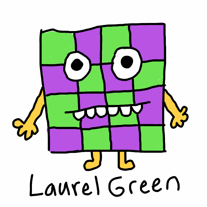 A drawing of a creature with a checker board face
