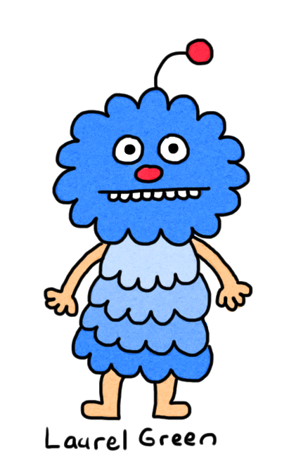 a drawing of a blue, fluffy thing