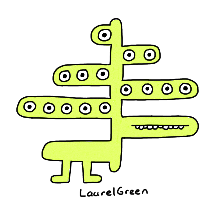 a drawing of a creature with fifteen eyes on different levels