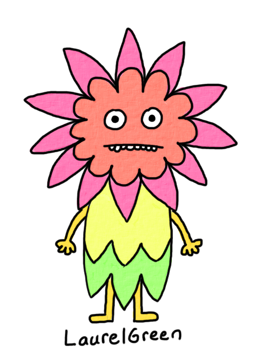 a drawing of a flower person