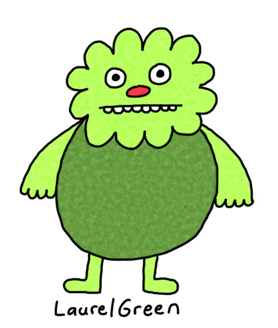a drawing of a fat green creature