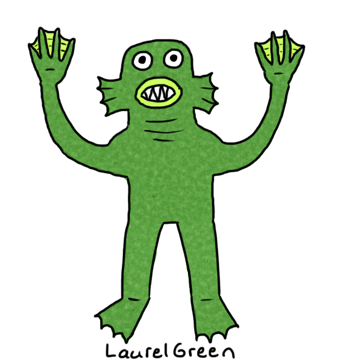 a drawing of a swamp monster