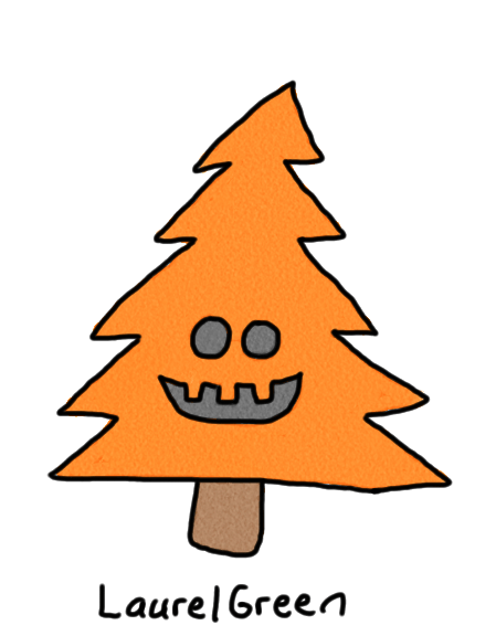 a drawing of an orange halloween tree
