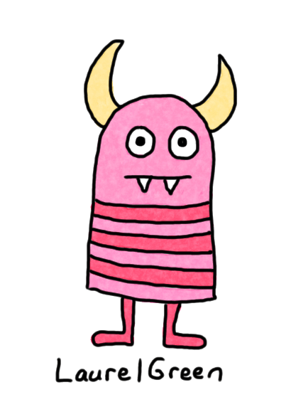 a drawing of a little, striped demon