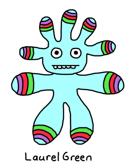a drawing of a weird creature with stripes on its limbs