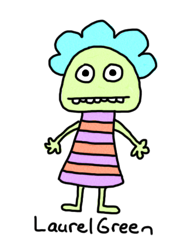 a drawing of a girl in a striped dress
