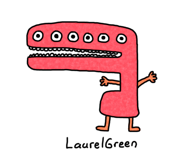 a drawing of a red creature with a very big mouth and six eyes