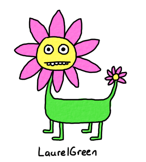 a drawing of a hybrid between a flower and a dog