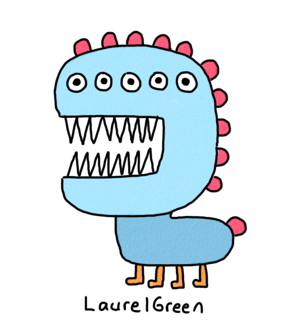 a drawing of a scary creature with fangs and five eyeballs