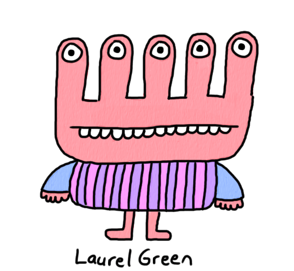a drawing of a creature with five eyes and a vertically striped shirt