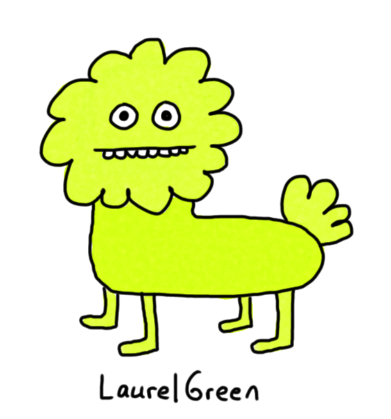 a drawing of a green quadruped