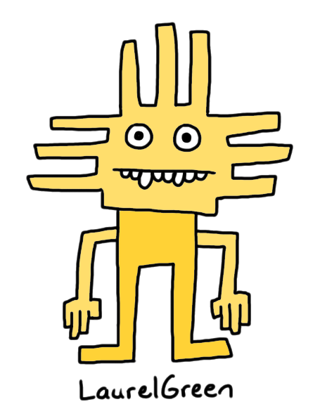 a drawing of a yellow, angular person