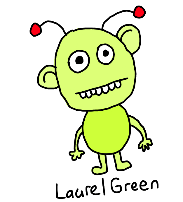 a drawing of a green alien drawn on a cellphone