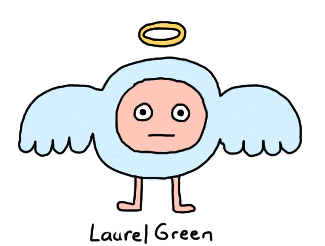 a drawing of a weird, round cherub