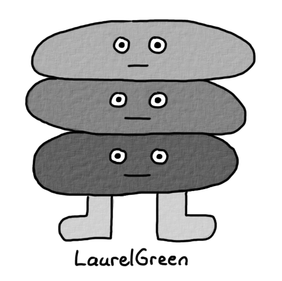 a drawing of a grey creature with three heads