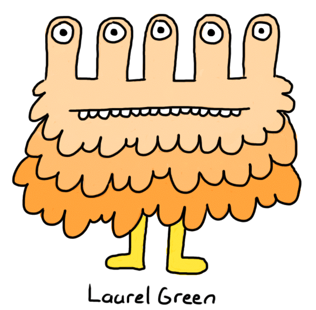 a drawing of a fuzzy orange creature with five eyestalks