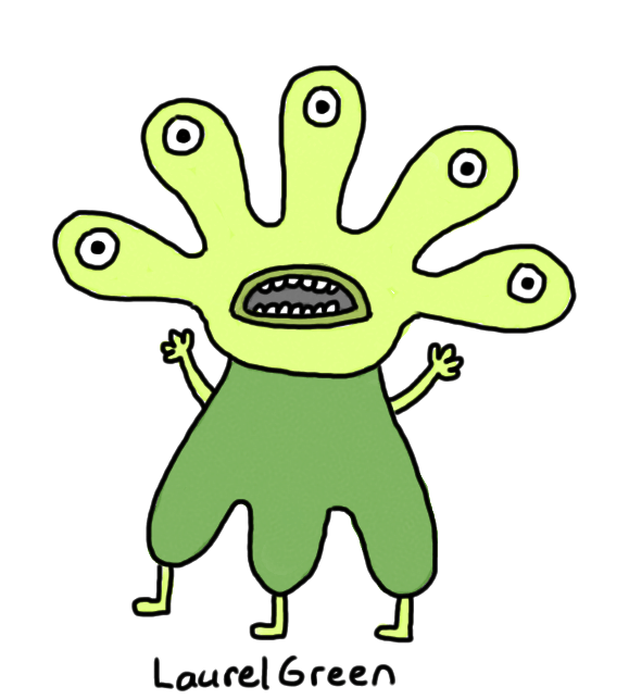 a drawing of a green angry alien with five eyes