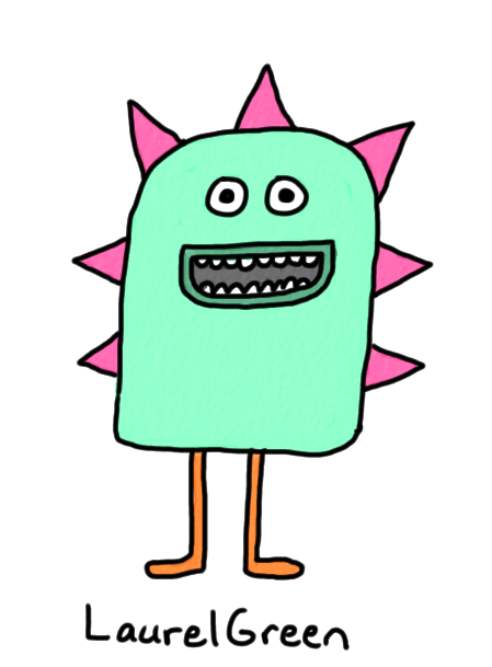 a drawing of a happy spiky cretaure