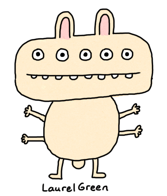 a drawing of a mutated rabbit with five eyes and four arms