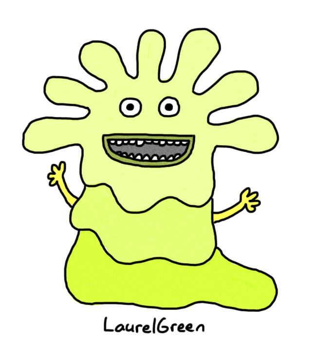 a drawing of a green gooey creature