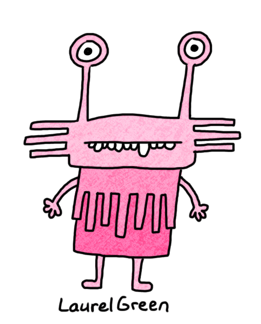 a drawing of a pink spiky creature with eyestalks