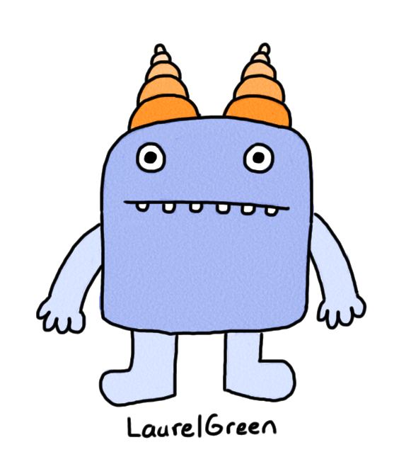 a drawing of a blue creature with a rectangular body and orange horns