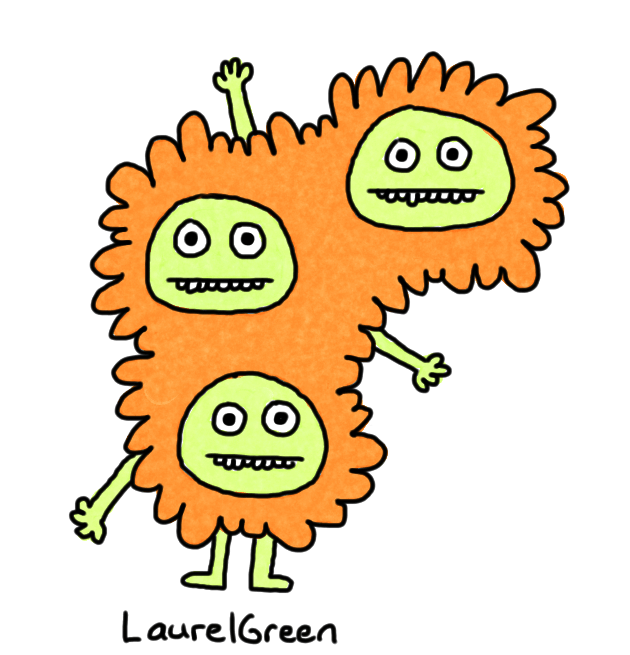 a drawing of a lumpy creature with three heads and three arms