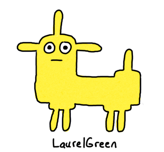 a drawing of a stupid yellow dog thing with spikes growing out of its head