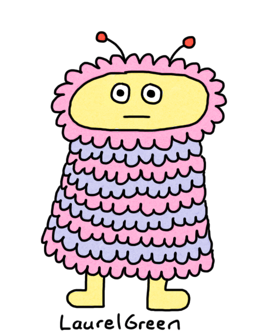 a drawing of a cute, fluffy alien with antennae
