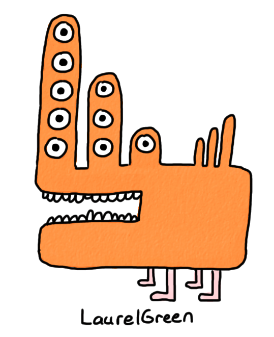 a weird orange mutant quadruped with nine eyes and three spikes on its rump