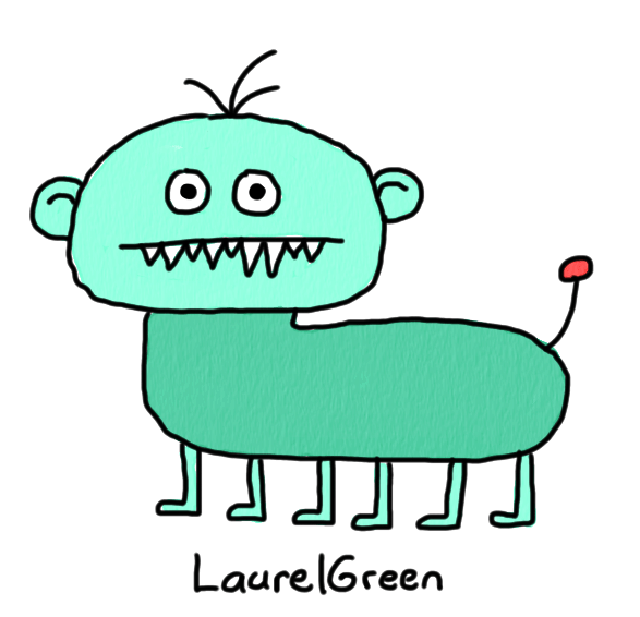 a drawing of a turquoise hybrid between a boy and a dog with six legs