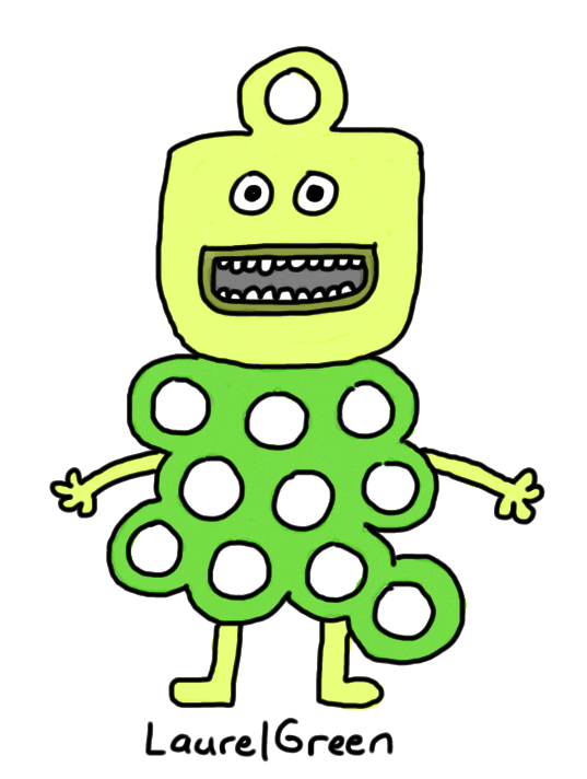 a drawing of a happy green creature with a body and head full holes