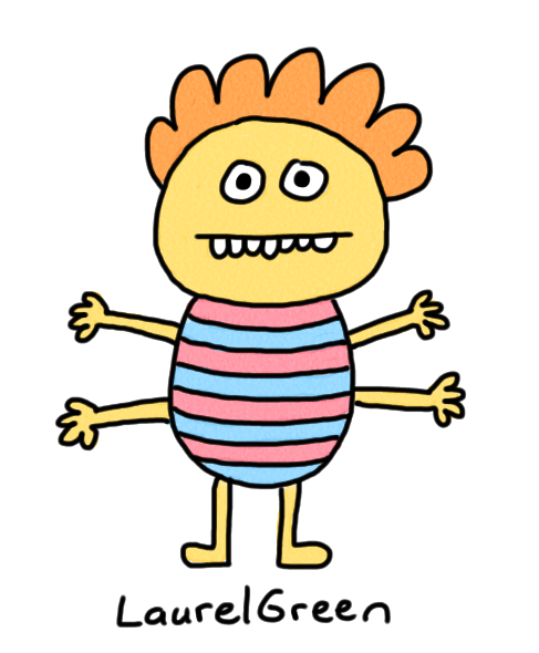 a drawing of a creature with a stripey body and four arms