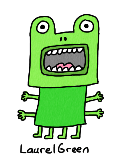 a drawing of a screaming mutant frog with four arms and four legs