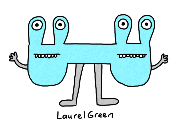 a drawing of a weird two-head blue creature with eyestalks