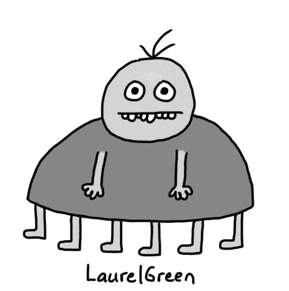 a drawing of a fat grey person with six legs