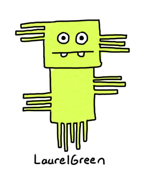 a drawing of a weird green floating creature covered in rectangular spikes