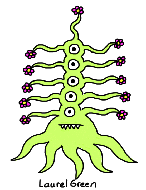 a drawing of a weird squid thing with five vertical eyes and flowers at the ends of its many tentacles