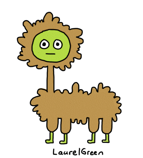 a drawing of a weird brown dog thing with a long neck