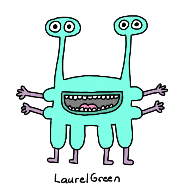 a drawing of a turquoise creature with four eyes, four arms and four legs