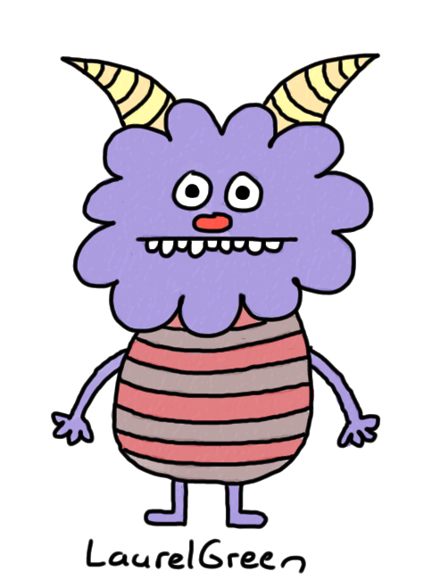 a drawing of a cute monster with a stripey body and horns