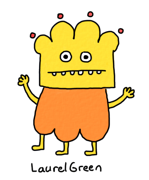 a drawing of a cute little orange person with three legs