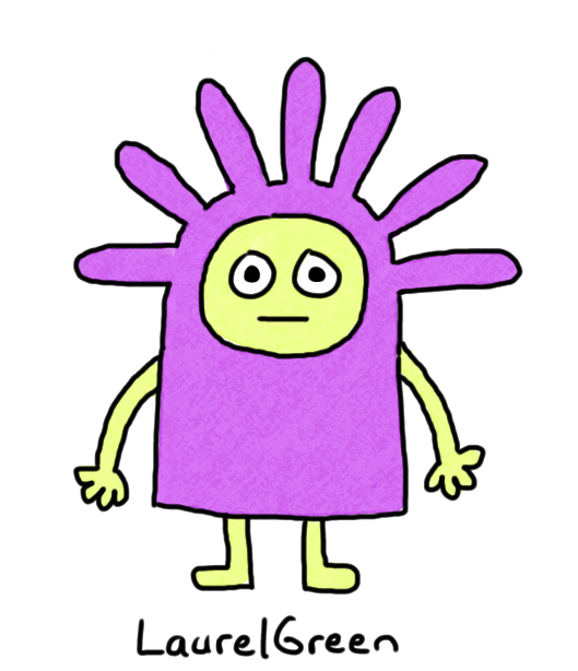 a drawing of a purple person with a spiky head