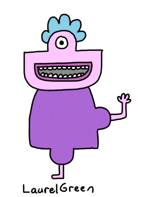 a drawing of a weird creature with one eye, one arm and one leg
