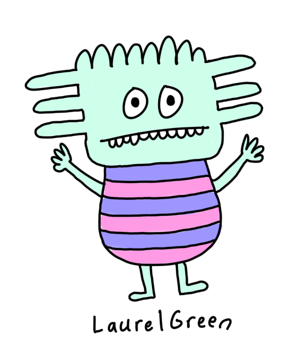 a drawing of a boring person with a spiky head and a striped body